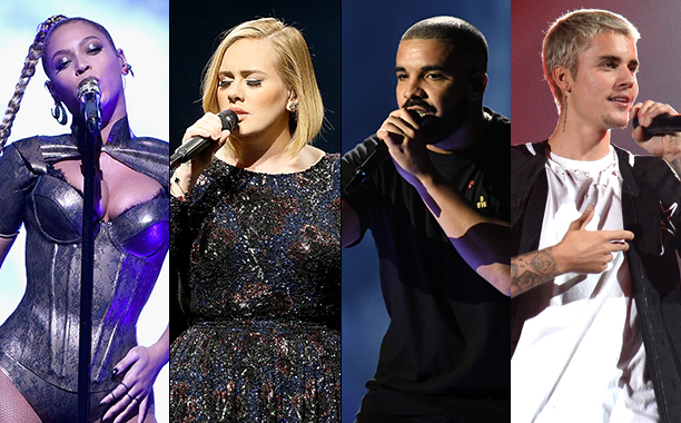 ALL CROPS: Beyonce, Adele, Justin Bieber, and Drake