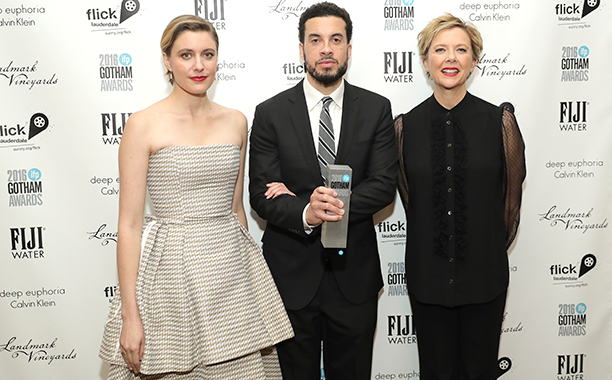 ALL CROPS: 626357510 Greta Gerwig, Ezra Edelman, and Annette Bening pose backstage during IFP's 26th Annual Gotham Independent Film Awards at Cipriani, Wall Street on November 28, 2016 in New York City. (Photo by Neilson Barnard/Getty Images for IFP)
