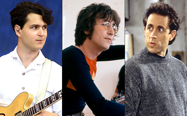 """ALL CROPS: 487142179 Ezra Koenig (Photo by Tim Mosenfelder/Getty Images); 103863501 John Lennon, July 1971. (Photo by Michael Putland/Getty Images); 138360683 SEINFELD -- """"The Bookstore"""" Episode 17 -- Pictured: Jerry Seinfeld as Jerry Seinfeld (Photo by"""