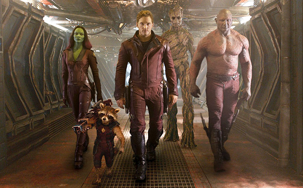 All Crops: Guardians Of The Galaxy (2014) L to R: Gamora (Zoe Saldana), Rocket Racoon (voiced by Bradley Cooper), Peter Quill/Star-Lord (Chris Pratt), Groot (voiced by Vin Diesel) and Drax the Destroyer (Dave Bautista) Writer: Title: Obje