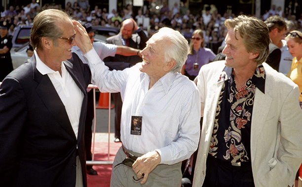 GALLERY: Kirk Douglas Through the Years: GettyImages-115350788.jpg September 10, 1997 Michael Douglas, Kirk Douglas and Jack Nicholson during Michael Douglas Footprint Ceremony at Mann's Chinese Theatre in Hollywood, California, United States.