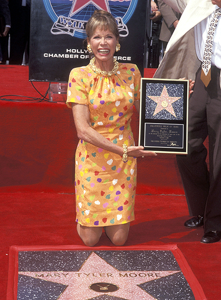 Mary Tyler Moore Receiving a Hollywood Walk of Fame Star on September 8, 1992