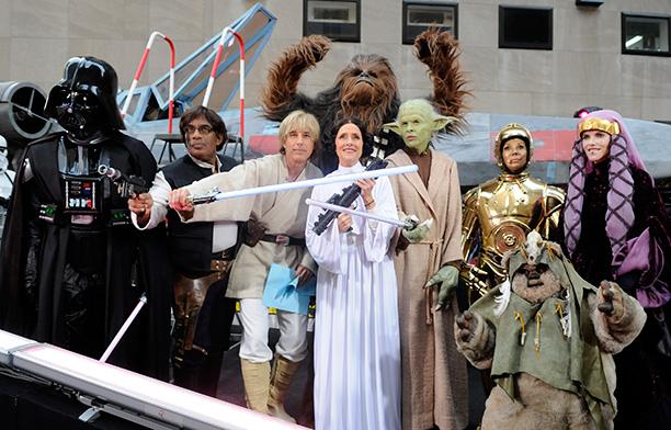 Ann Curry as Darth Vader, Al Roker as Han Solo, Matt Lauer as Luke Skywalker, Meredith Vieira as Princess Leia, Hoda Kotb as Yoda, Kathie Lee Gifford as C-3PO, and Natalie Morales as Queen Padme Amidala