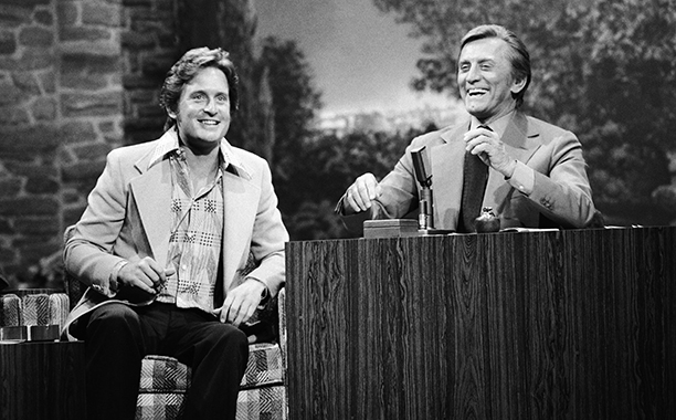 GALLERY: Kirk Douglas Through the Years: GettyImages-141194825.jpg THE TONIGHT SHOW STARRING JOHNNY CARSON -- Episode May 26, 1975 -- Pictured: (l-r) Actor Michael Douglas, Guest host/actor Kirk Douglas