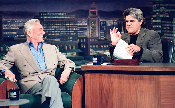 GALLERY: Kirk Douglas Through the Years: GettyImages-163612407.jpg THE TONIGHT SHOW WITH JAY LENO -- Episode 488 -- Pictured: (l-r) Actor Kirk Douglas during an interview with host Jay Leno on June 24, 1994