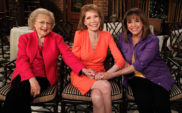Mary Tyler Moore With Valerie Harper and Betty White on April 8, 2013