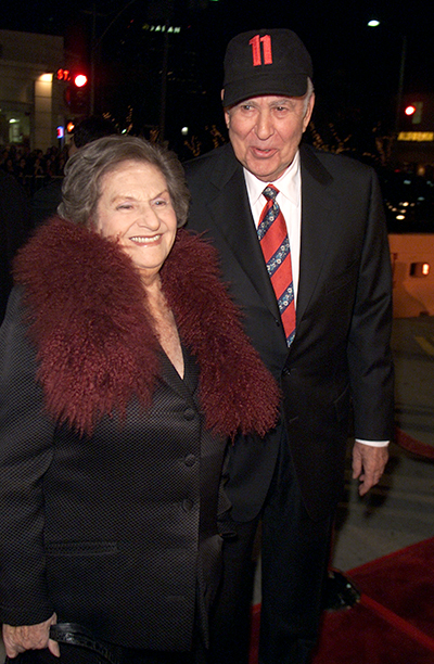 """GALLERY: 'Ocean's Eleven' Premiere: GettyImages-2253615.jpg Carl and Estelle Reiner at the premiere of """"Ocean's Eleven"""" at the Village Theater in Los Angeles, Ca. Wednesday, December 5, 2001"""