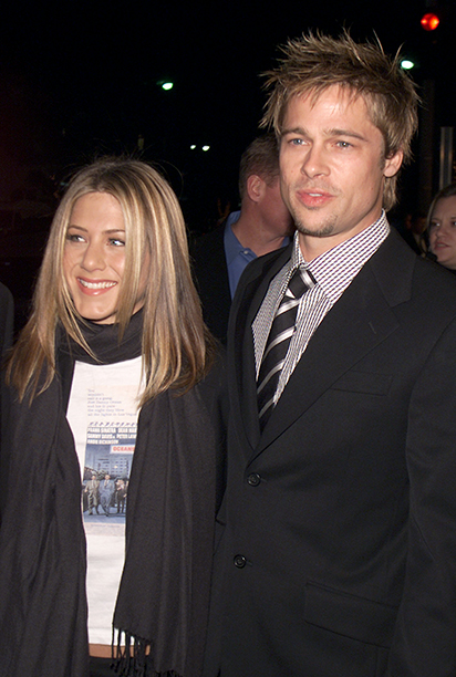 """GALLERY: 'Ocean's Eleven' Premiere: GettyImages-2254286.jpg Brad Pitt and Jennifer Aniston at the premiere of """"Ocean's Eleven"""" at the Village Theater in Los Angeles, Ca. Wednesday, December 5, 2001"""