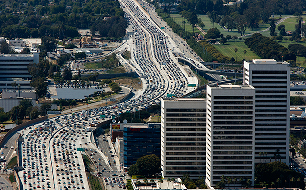 GALLERY: La La Land influences: GettyImages-481496318.jpg Traffic moves slowly on the 405 Freeway in this aerial photograph taken over the Westwood neighborhood of Los Angeles, California, U.S., on Friday, July 10, 2015