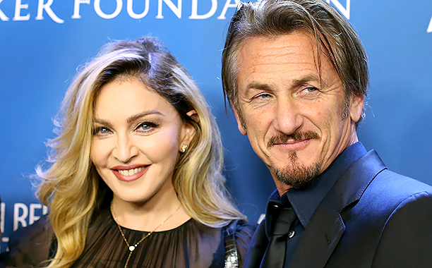 "ALL CROPS: 504228178 Madonna (L) and Sean Penn arrive at the 5th Annual Sean Penn & Friends ""HELP HAITI HOME"" gala benefiting J/P Haitian Relief Organization held at Montage Hotel on January 9, 2016 in Beverly Hills, California. (Photo by Michael Tran/Fi"