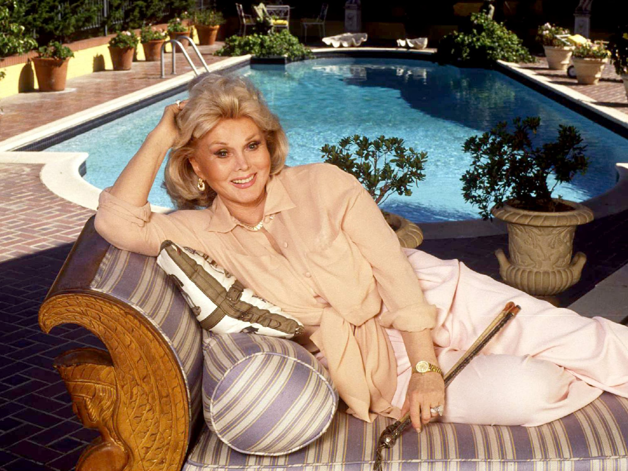 Bel Air Zsa Zsa Gabor Poolside In Her Bel Air Mansion Paul Harris