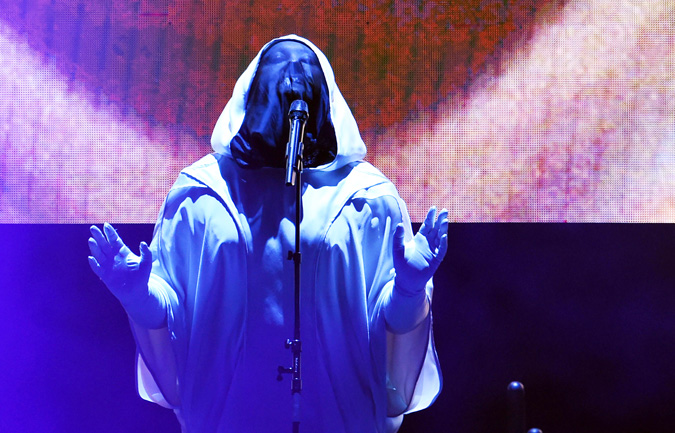 All Crops: 532935334 Collection: AFP Anohni, a transgender British-born US singer who was earlier known as Antony Hegarty, performs on stage during a concert in New York on May 19, 2016 Anohni's plaintive yet soulful voice has the proven power to move eas