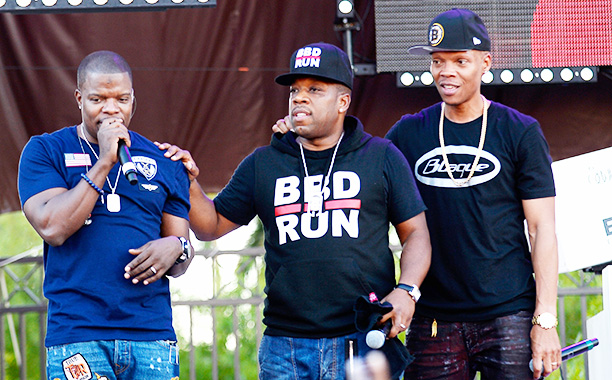 All Crops: 621316306 Collection: Getty Images Entertainment LAS VEGAS, NV - NOVEMBER 05: (L-R) Recording artists Ricky Bell, Michael Bivins, and Ronnie DeVoe of Bell Biv DeVoe perform during the Soul Train Day Party at Daylight Beach Club at the Mandalay
