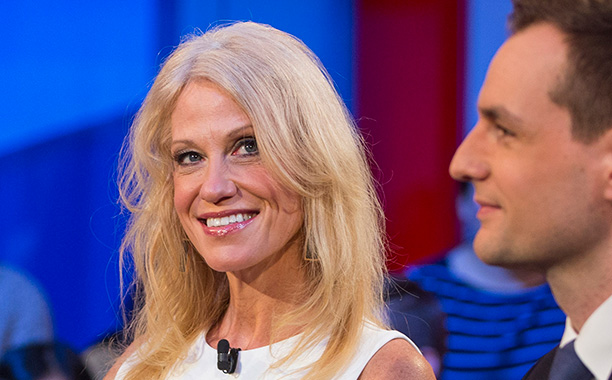 All Crops: 627062416 Collection: Getty Images News CAMBRIDGE, MA - DECEMBER 01: Trump Campaign Manager Kellyanne Conway and Clinton Campaign Manager Robby Mook speak during the event titled 'War Stories: Inside Campaign 2016' at the Harvard Institute of P