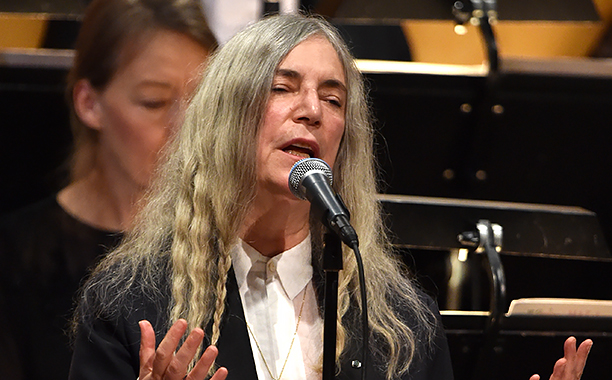 ALL CROPS: 628930086 Patti Smith performs during the Nobel Prize Awards Ceremony at Concert Hall on December 10, 2016 in Stockholm, Sweden. (Photo by Pascal Le Segretain/WireImage)