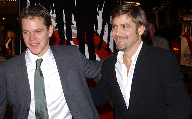 """GALLERY: 'Ocean's Eleven' Premiere: GettyImages-675548.jpg Matt Damon (L) and George Clooney attend the premiere of the film """"Ocean's Eleven"""" December 5, 2001 in Los Angeles, CA."""