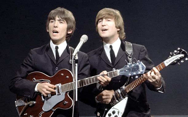 All Crops: 84843315 Collection: Redferns UNITED KINGDOM - OCTOBER 03: Photo of BEATLES and John LENNON and George HARRISON; George Harrison (playing Gretsch 6119 Tennessean guitar) & John Lennon (playing Rickenbacker 325 guitar) at the Granville Studio pe