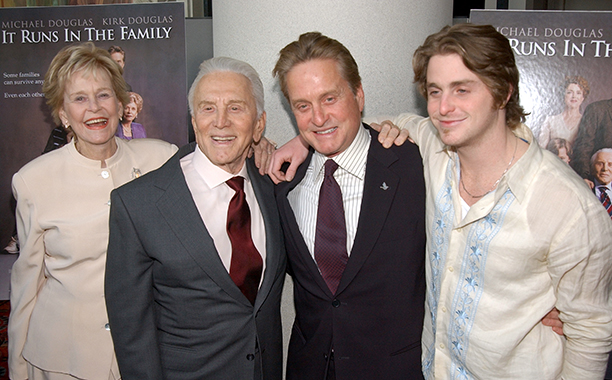 GALLERY: Kirk Douglas Through the Years: GettyImages-85205234.jpg Diana Douglas, Kirk Douglas, Michael Douglas and Cameron Douglas April 13, 2003 'It Runs In the Family' New York Premiere - Inside Arrivals