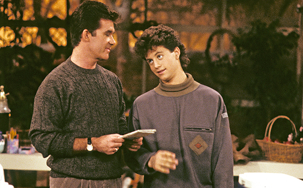 ALL CROPS: 454915004 GROWING PAINS - 'Mandingo' - Airdate: January 11, 1989. (Photo by ABC Photo Archives/ABC via Getty Images) ALAN THICKE;KIRK CAMERON