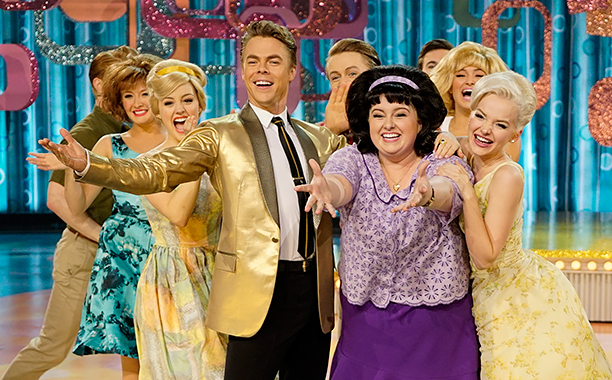 ALL CROPS: HAIRSPRAY LIVE! -- Pictured: (l-r) Derek Hough as Corny Collins, Maddie Baillio as Tracy Turnblad, Dove Cameron as Amber Von Tussle -- (Photo by: Paul Drinkwater/NBC)