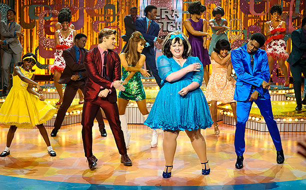 ALL CROPS: HAIRSPRAY LIVE! -- Pictured: (l-r) Shahadi Wright Joseph as Little Inez, Garrett Clayton as Link Larkin, Ariana Grande as Penny Pingleton, Maddie Baillio as Tracy Turnblad, Ephraim Sykes as Seaweed J. Stubbs -- (Photo by: Paul Drinkwater/NBC)