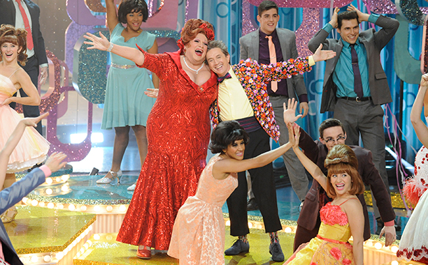 ALL CROPS: HAIRSPRAY LIVE! -- Pictured: (l-r) Harvey Fierstein as Edna Turnblad, Martin Short as Wilbur Turnblad -- (Photo by: Colleen Hayes/NBC)