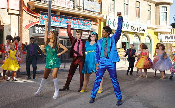 ALL CROPS: HAIRSPRAY LIVE! -- Season: 2016 -- Pictured: (l-r) Ariana Grande as Penny Pingleton, Garrett Clayton as Link Larkin, Maddie Baillio as Tracy Turnblad, Ephraim Sykes as Seaweed J. Stubbs -- (Photo by: Trae Patton/NBC)