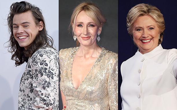 ALL CROPS: Harry Styles (500246082), Hillary Clinton (615697474), and J.K. Rowling (623412776) split
