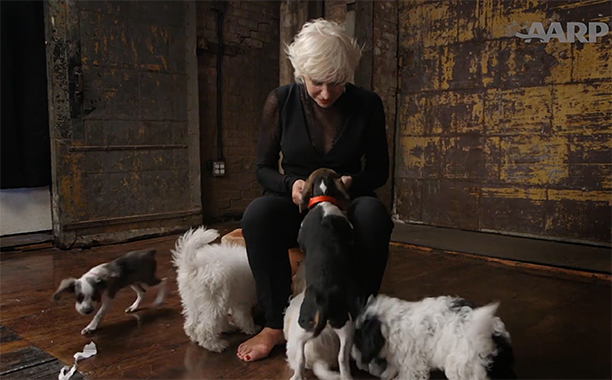 ALL CROPS: HELEN MIRREN PLAYS WITH DOGS