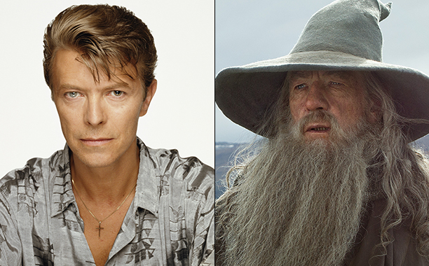 ALL CROPS: (52240895) David Bowie & IAN McKELLEN as the Wizard Gandalf the Grey