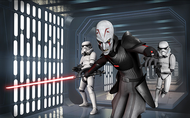 GALLERY: 'Star Wars' Timeline: Star Wars Rebels the Inquisitor and Stormtroopers (the 2 characters in the background) (2014)