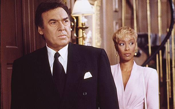 ALL CROPS: 138379256 DAYS OF OUR LIVES -- Pictured: (l-r) Joseph Mascolo as Stefano DiMera, Tanya Boyd as Celeste Perrault (Photo by NBC/NBCU Photo Bank via Getty Images)