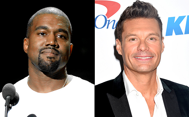 ALL CROPS: 597608244 Kanye West (Photo by Jeff Kravitz/FilmMagic); 627348394 Ryan Seacrest (Photo by Jeffrey Mayer/WireImage)