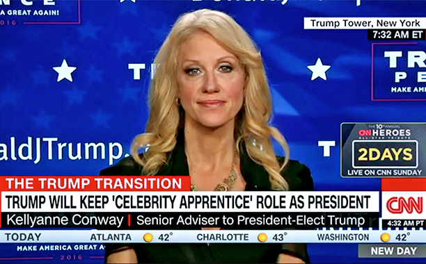 """ALL CROPS: Kellyanne Conway on Trump remaining Celeb Apprentice EP: """"Presidents have a right to do things in their spare time."""" screengrab"""
