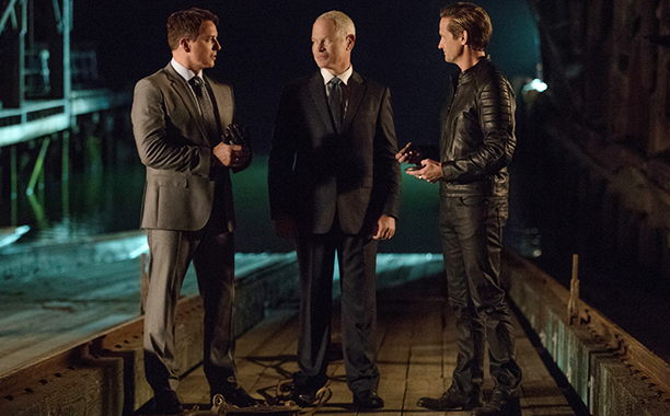 """ALL CROPS: DC's Legends of Tomorrow --""""The Chicago Way""""-- LGN208a_0521.jpg -- Pictured (L-R): John Barrowman as Malcolm Merlyn, Neal McDonough as Damien Darhk, and Matthew Letscher as Eobard Thawne -- Photo: Jack Rowand/The CW -- © 2016 The CW Network, LL"""