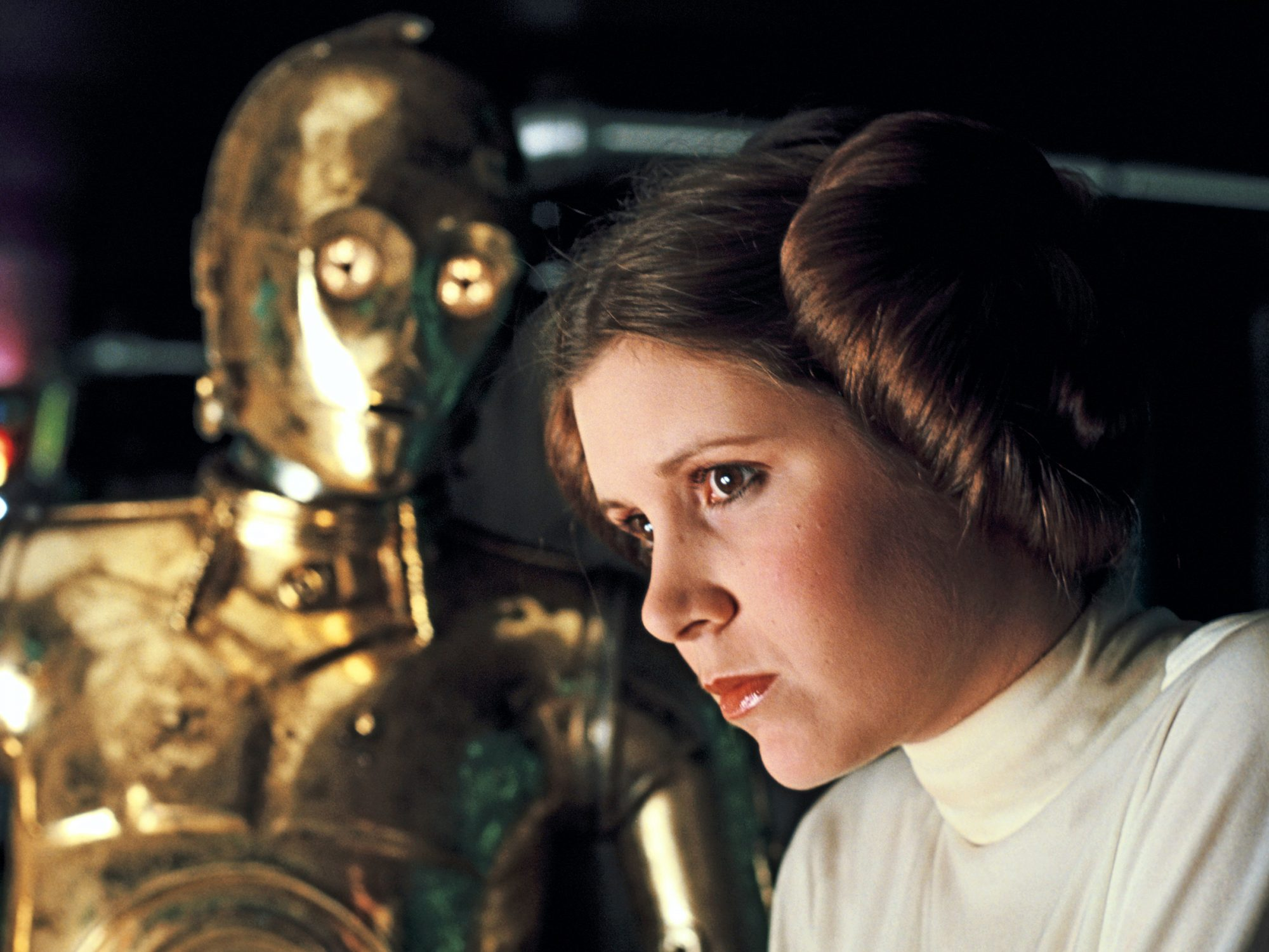 Star WarsAnthony Daniels as C-3PO and Carrie Fisher as Princess Leia