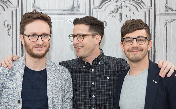 ALL CROPS: 532203218 (L-R) Akiva Schaffer, Andy Samberg, and Jorma Taccone of The Lonely Island attend 'Popstar: Never Stop Never Stopping' At AOL Build at AOL on May 18, 2016 in New York City. (Photo by Adela Loconte/WireImage)