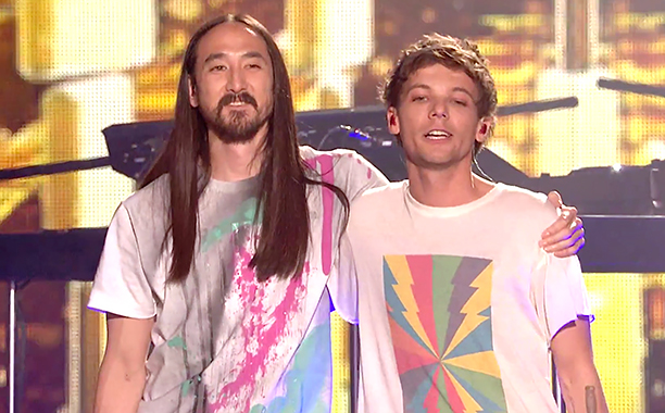 ALL CROPS: Louis Tomlinson and Steve Aoki perform Just Hold on! | Finals | The X Factor UK 2016 (screen grab) CR: ITV