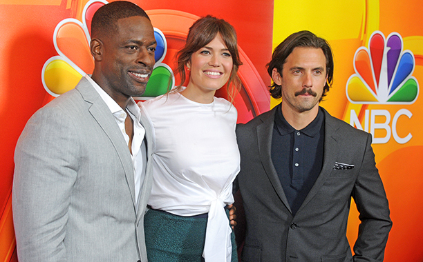 ALL CROPS: 585541862 Sterling K. Brown, Mandy Moore and Milo Ventimiglia arrive at the 2016 Summer TCA Tour - NBCUniversal Press Tour Day 1 at The Beverly Hilton Hotel on August 2, 2016 in Beverly Hills, California. (Photo by Gregg DeGuire/WireImage