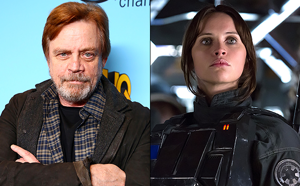 ALL CROPS: 628205004 Mark Hamill on December 6, 2016 in Beverly Hills, California. (Photo by Justin Baker/FilmMagic); Rogue One: A Star Wars Story -- Pictured: Jyn Erso (Felicity Jones) .Ph: Giles Keyte..© 2016 Lucasfilm Ltd. All Rights Reserved.