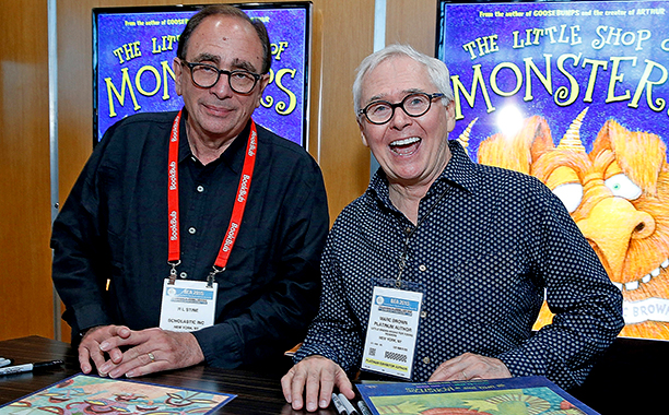 ALL CROPS: 475190944 R L Stine and Marc Brown attend BookExpo America 2015 at Jacob javits Center on May 29, 2015 in New York City. (Photo by John Lamparski/WireImage