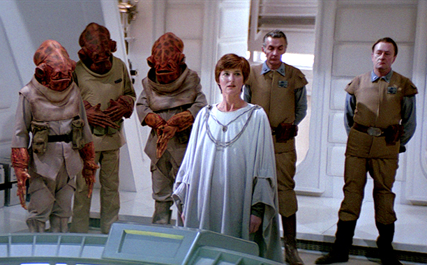 GALLERY: 'Star Wars' Timeline: Star Wars Return of the Jedi Mon Mothma, Admiral Ackbar (squid guy) and General Madine (white beard)