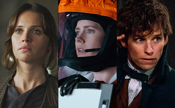 All Crops: Rogue One (L), Amy Adams in Arrival (C), and Eddie Redmayne in Fantastic Beasts (R) Split
