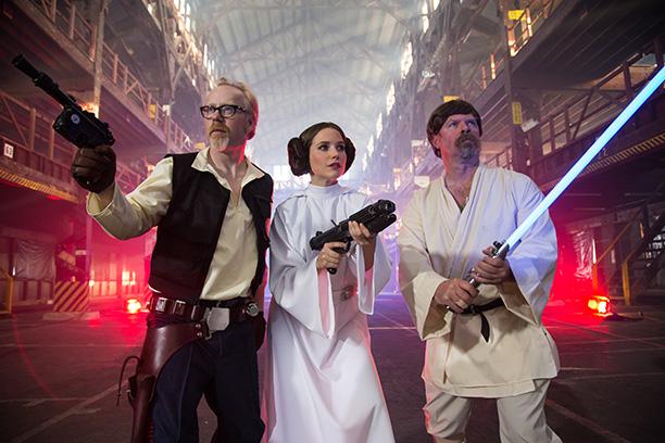 MythBusters' Adam Savage as Han Solo, Sophia Bush as Princess Leia, and MythBusters' Jamie Hyneman as Luke Skywalker