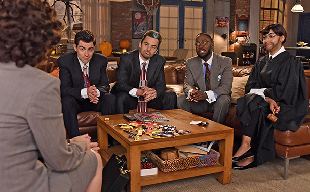 "ALL CROPS: NEW GIRL: L-R: Max Greenfield, Jake Johnson, Lamorne Morris and Hannah Simone in the ""Christmas Eve Eve"" episode of NEW GIRL airing Tuesday, Dec. 13 (8:30-9:01 PM ET/PT) on FOX. ©2016 Fox Broadcasting Co. Cr: Ray Mickshaw/FOX"