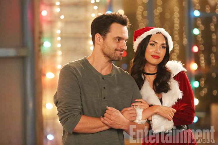 "All Crops: NEW GIRL: L-R: Jake Johnson and guest star Megan Fox in the ""Christmas Eve Eve"" episode of NEW GIRL airing Tuesday, Dec. 13 (8:30-9:01 PM ET/PT) on FOX. ©2016 Fox Broadcasting Co. WATERMARKED"