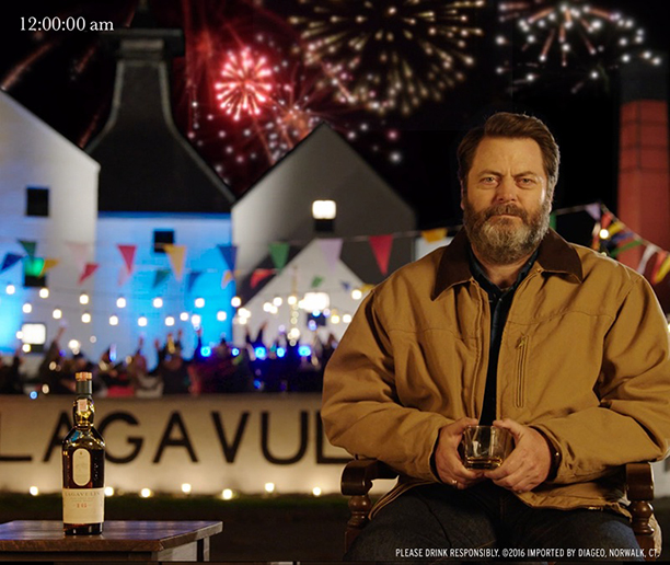 ALL CROPS: Nick Offerman's yule log - drinking whisky