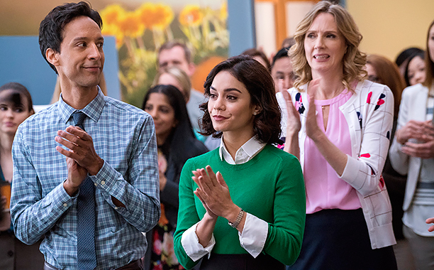ALL CROPS: POWERLESS -- Pilot -- Pictured: (l-r) Danny Pudi as Teddy, Vanessa Hudgens as Emily, Christina Kirk as Jackie -- (Photo by: Chris Large/NBC)