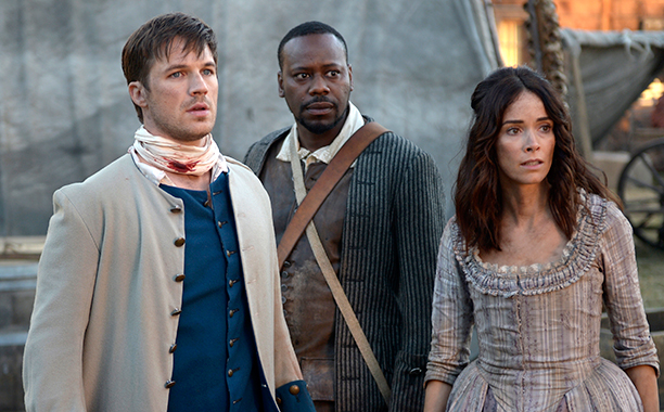 "GALLERY: TV's Time Obsession: TIMELESS -- ""Stranded"" Episode 106 -- Pictured: (l-r) Matt Lanter as Wyatt Logan, Malcolm Barrett as Rufus Carlin, Abigail Spencer as Lucy Preston"
