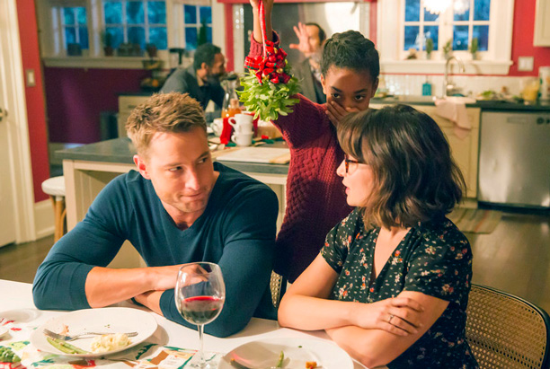 "RECAP: 12/6/16: ALL CROPS: THIS IS US -- ""Last Christmas"" Episode 110 -- Pictured: (l-r) Justin Hartley as Kevin, Eris Baker as Tess, Milana Vayntrub as Sloane -- (Photo by: Ron Batzdorff/NBC)"